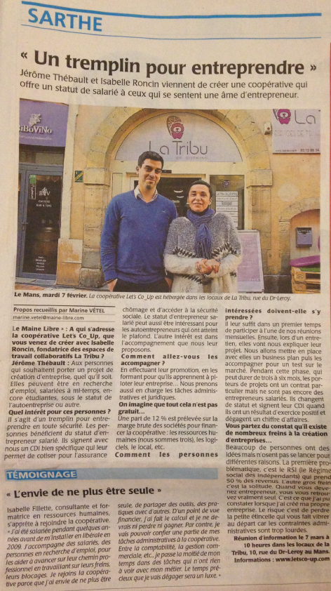 Article Let's Co_Up Le Maine Libre 16 février 2017